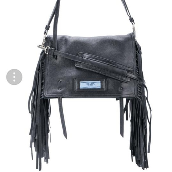06aec15b4368c2 Prada Bags | Etiquette Fringed Black Leather Shoulder Bag | Poshmark